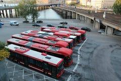 Bussen in Slussen, Stockholm Zweden royalty-vrije stock afbeelding