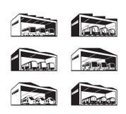 Bussgarage för olika typer av kollektivtrafik vektor illustrationer