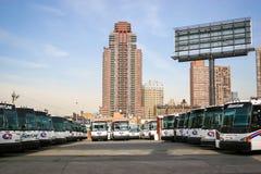 Bussgarage i New York Arkivbilder