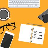 bussines banner. phone, notepad, coffee, glasses and notebook. plan, idea and action. vector design EPS10 stock illustration