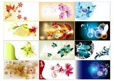 Bussines cards set in floral style Royalty Free Stock Photo