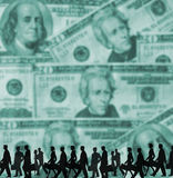 Bussines concept. Team of people is going at work on background made of paper money-dollars Royalty Free Stock Images
