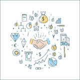 Bussines, finance, money line concept. Vector flat linear bussines, finance, money concept in round composition Stock Images