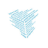Bussines info cube. Made out of blue words Royalty Free Stock Photography