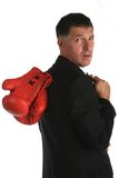 Bussines man with boxing gloves on Royalty Free Stock Photography