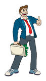 Bussines man with briefcase ful of money. Man with suitcase full of money giving thumbs up Stock Images