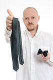 Bussines man choosing tie or bow tie Stock Photo