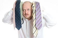 Bussines man choosing ties Royalty Free Stock Images