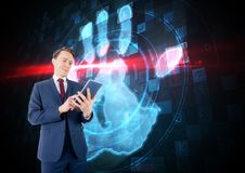 Bussines man with tablet with hand scan background Stock Photography