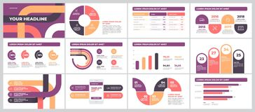 Presentation Template design with infographic. Bussines Presentation Template design. Data graphs. Vector financial and marketing charts Royalty Free Stock Photo