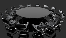 Bussines table. Black round/negotiating table in a office vector illustration