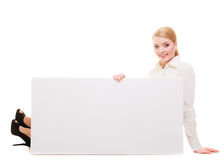 Bussines woman with blank presentation board banner sign. Royalty Free Stock Photography