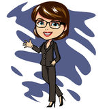 Bussines Woman Cartoon. Bussines woman in cartoon style. Moving like doing presentation Stock Images