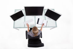 Bussines woman in her office upper view Royalty Free Stock Photos