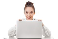 Bussines woman smiling showing white blank sign Stock Photo