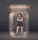 Bussines women trapped in jar with network symbols Royalty Free Stock Photo