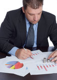 Bussinesman analyzing graph Royalty Free Stock Photo