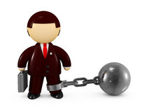Bussinesman chained with a steel ball Stock Photos