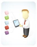 Bussinesman doing a presentation. Vector  illustration of a businessman is showing a presentation by holding his Tablet Stock Photo