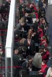 BUSSINESMAN ENTRING TILL DEN MOBILA VÄRLDSKONGRESSEN 2014 Royaltyfri Bild