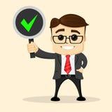 Bussinesman lub kierownika charakter ono uśmiecha się i stoi z znakiem w jeden ręce Zdjęcia Royalty Free
