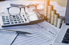 bussiness accounting report and concept save money with pen cal Stock Images