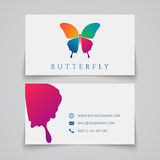 Bussiness card template. Butterfly logo. Vector illustration Royalty Free Stock Images