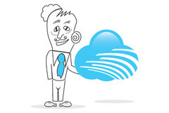 Bussiness Cloud. Vector drawn Human with a big blue cloud piece in hands Royalty Free Stock Images
