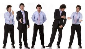 Bussiness man. Business man standing on white isolated backgound expressions Stock Images