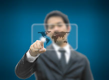 Bussiness man concept pointing world map Stock Photo