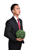 Bussiness man with future eco - green energy concept Royalty Free Stock Photo