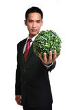 Bussiness man with future eco - green energy concept Royalty Free Stock Photos