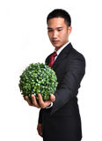 Bussiness man with future eco - green energy concept Stock Photos