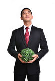 Bussiness man with future eco - green energy concept Royalty Free Stock Images