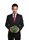Bussiness man with future eco - green energy concept Stock Photo