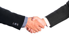 Bussiness man handshake isolated white background Stock Photography