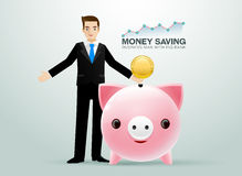 Bussiness man pig bank coin saving money Royalty Free Stock Image