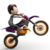 The bussiness man radical moto cross side view Stock Image