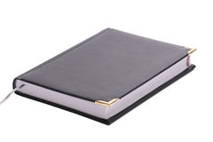 Bussiness notebook. Isolated, daily from black leather Royalty Free Stock Photo