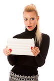 Bussiness woman using tablet computer, reading news shoced, scar Stock Photography