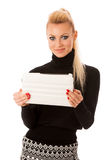 Bussiness woman using tablet computer, reading news and smiling. Royalty Free Stock Photography