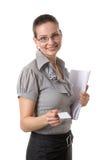 bussinessen card henne som visar kvinnan Arkivfoton