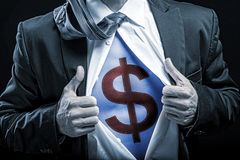 bussinessman blue belly with dollar sign stock photography