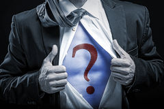 bussinessman blue belly with question mark Stock Photography