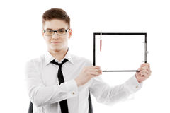Bussinessman with clipboard Stock Photography