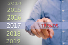 Bussinessman hand pointing trends text. Bussiness man hand pointing trends text Royalty Free Stock Photo