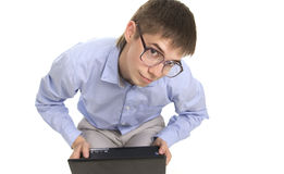 Bussinessman with laptop Stock Photo