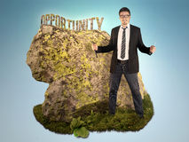 Bussinessman is Sculpting a Word Opportunity Royalty Free Stock Photography