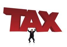 Bussinessman soulève un signe d'impôts Images libres de droits