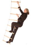 Bussinesswoman climbering the ladder of success royalty free stock photos